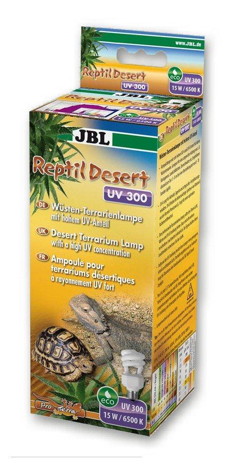 JBL Reptil Desert UV 300 ampoule basse consommation 15 W, 6500 K à forte proportion d\'UVA et d\'UVB pour terrariums