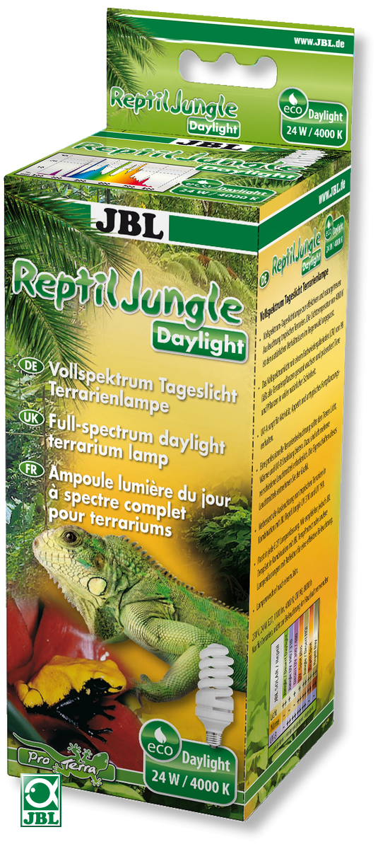 JBL Reptil Jungle ampoule basse consommation 24 W, 4000 K à spectre lumière du jour complet pour terrariums