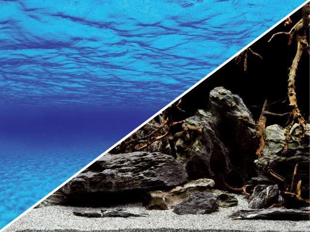 Poster d\'aquarium à la coupe pour aquarium Océan ou Racines sur fond noir, imprimé sur deux faces. Hauteur 29, 45 ou 60 cm
