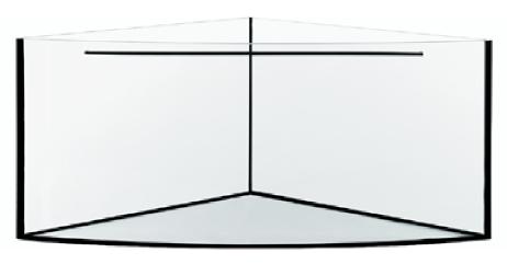AQUAVIE Aquarium nu d\'angle avec vitre bombée 348 litres sans cornières 86 x 86 x 60 cm. Cuve nue livrée sans équipement