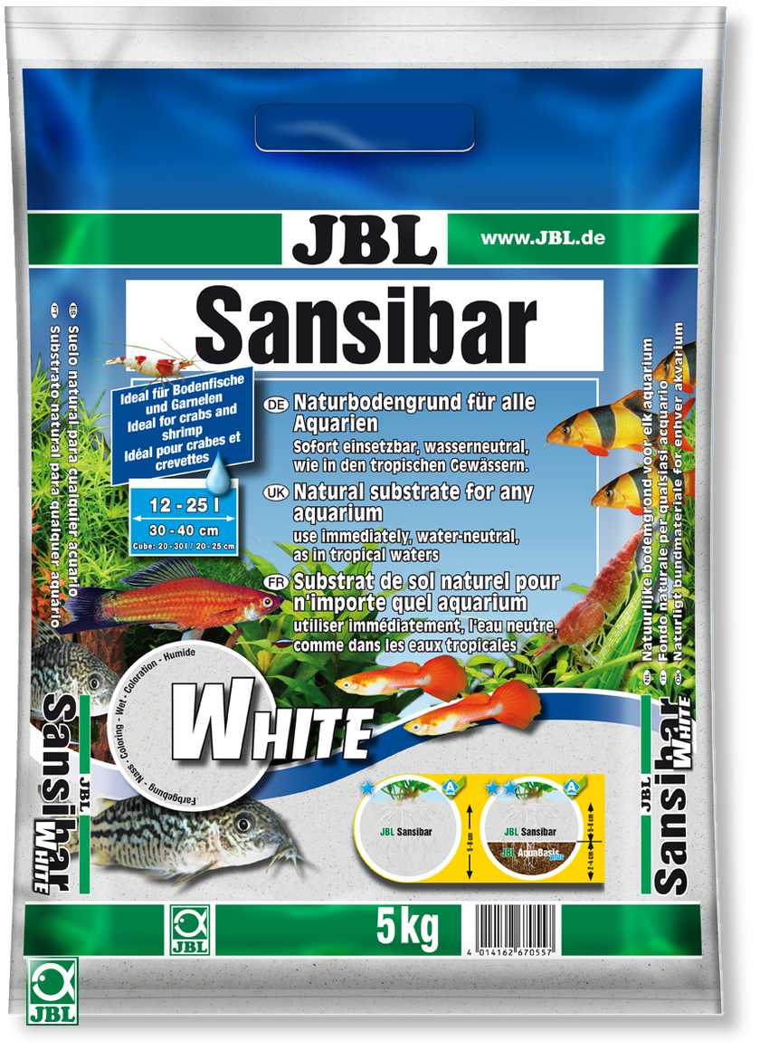 JBL Sansibar White substrat de sol blanc et fin. Conditionnement 5 Kg ou 10 Kg