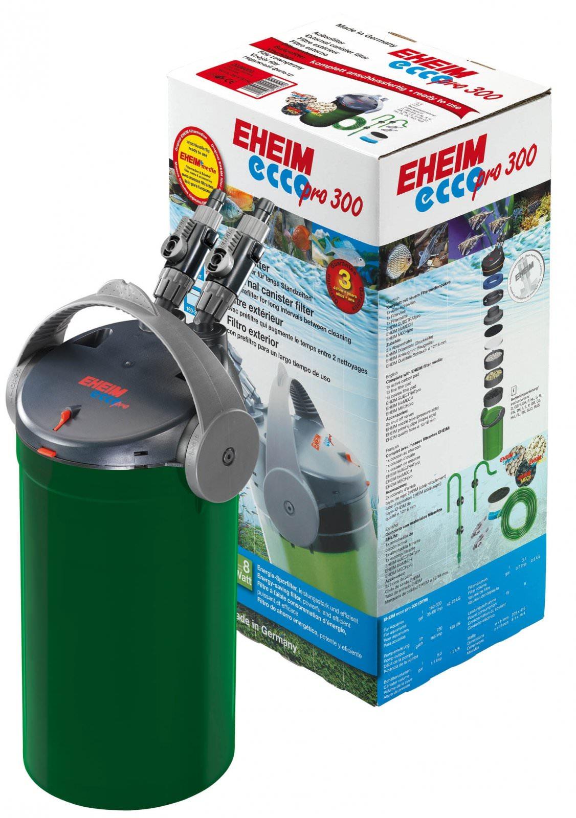 EHEIM Ecco Pro 300 filtre externe avec masse et mousses filtrantes aquarium entre 160 et 300L