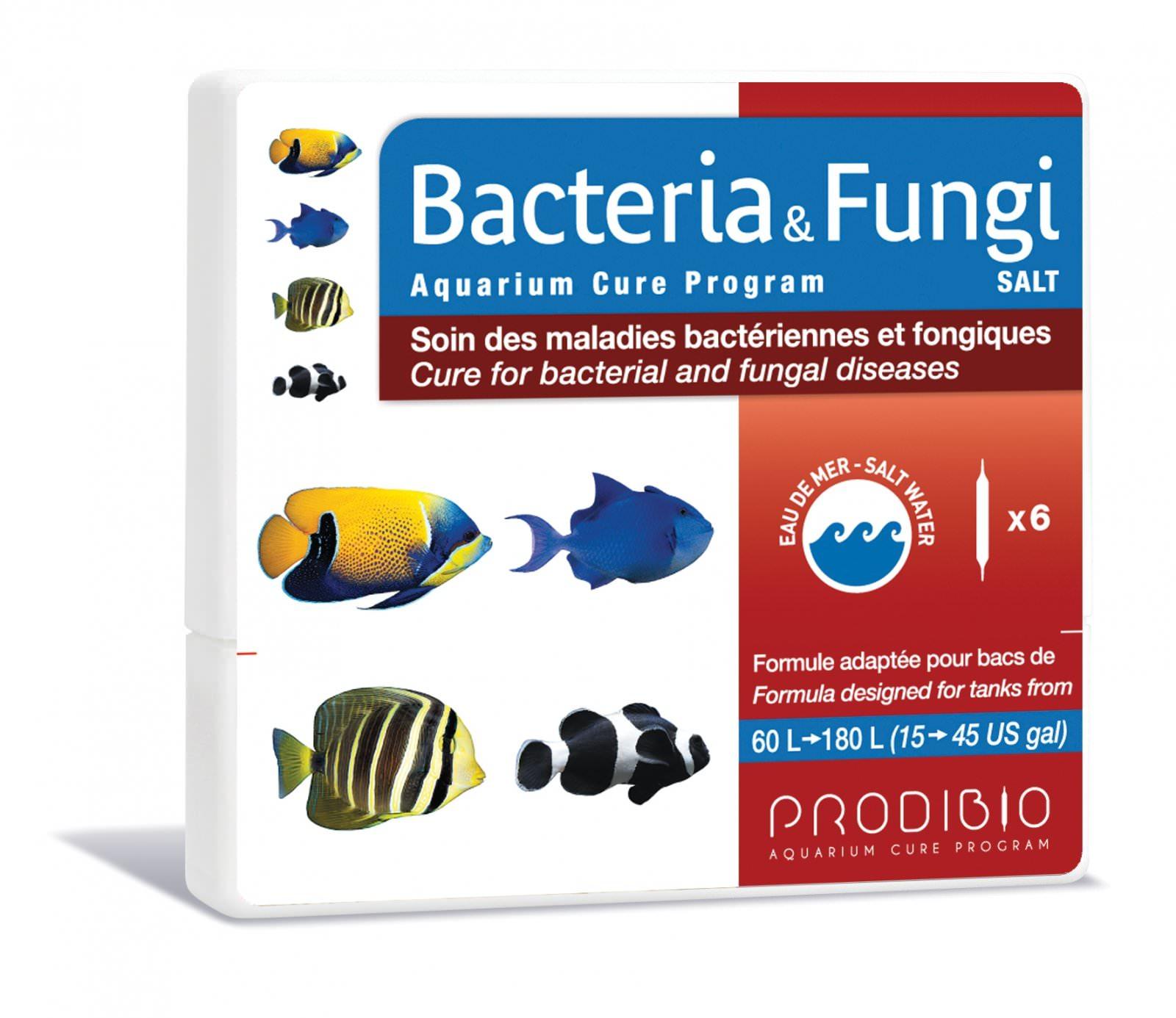 PRODIBIO Bacteria & Fungi Salt 6 ampoules soins des maladies bactériennes et fongiques pouvant contaminer des poissons d'eau de mer