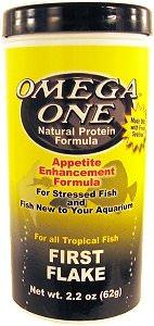OMEGA ONE First Flake 62 gr. nourriture en flocons idéale pendant l\'acclimation des poissons d\'eau douce et marins