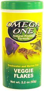 OMEGA ONE Veggie Flakes 28 gr. nourriture en flocons à base d\'algues fraiches et spiruline pour poissons d\'eau douce et marins