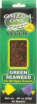 OMEGA ONE Seaweed Green 23 gr. nourriture sous forme de feuilles (x24) pour poissons d\'eau douce et marins herbivores