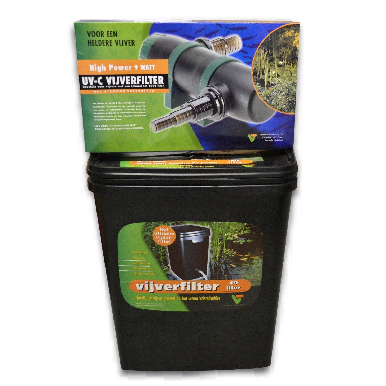 VELDA Kit de filtration 40L complet avec stérilisateur UV pour bassin jusqu\'à 7000L