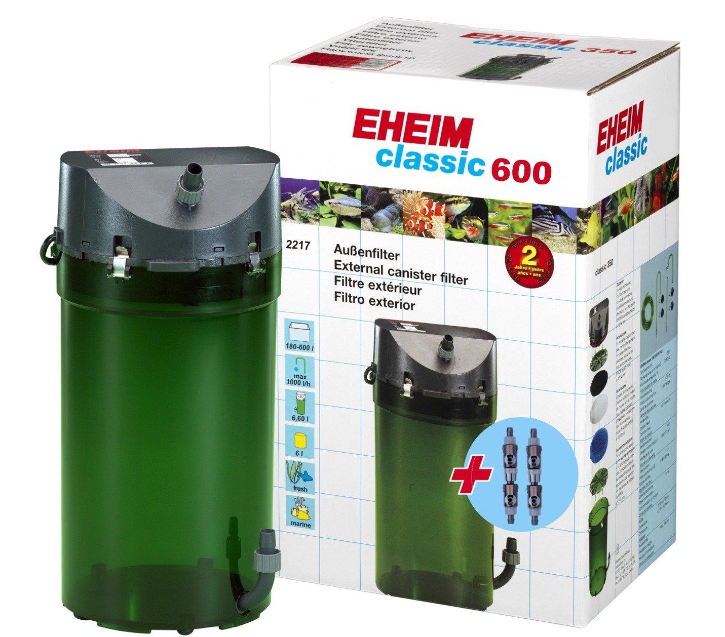 EHEIM Classic 2217 filtre externe pour aquarium jusqu\'à 600L avec mousses filtrantes et doubles robinets