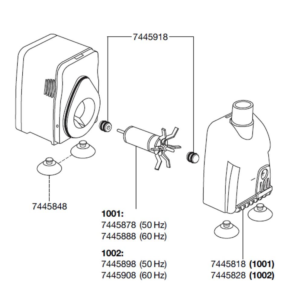 EHEIM Pièces détachées pour pompe Compact 600 (1001) et 1000 (1002)