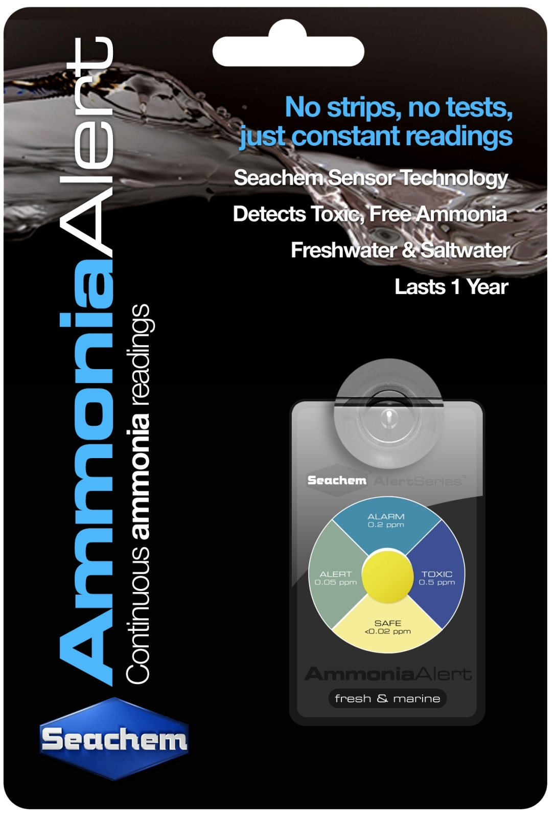SEACHEM Ammonia Alert test permanent de l\'ammoniaque pour aquarium d\'eau douce et d\'eau de mer
