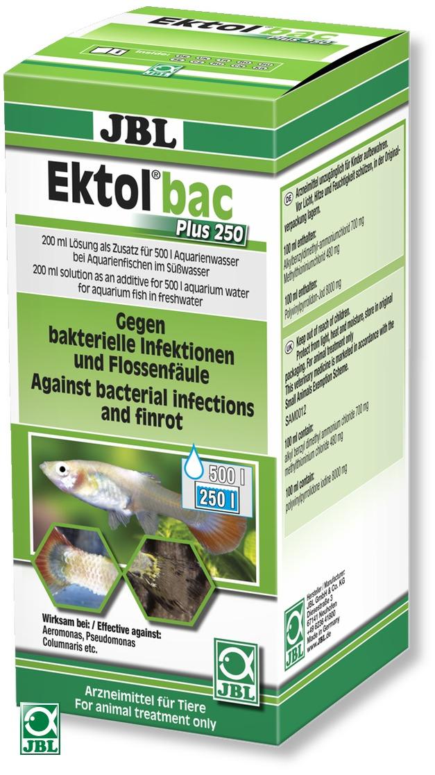 JBL Ektol Bac Plus 250 combat la nécrose des nageoires et autres infections bacteriennes chez les poissons d\'aquarium