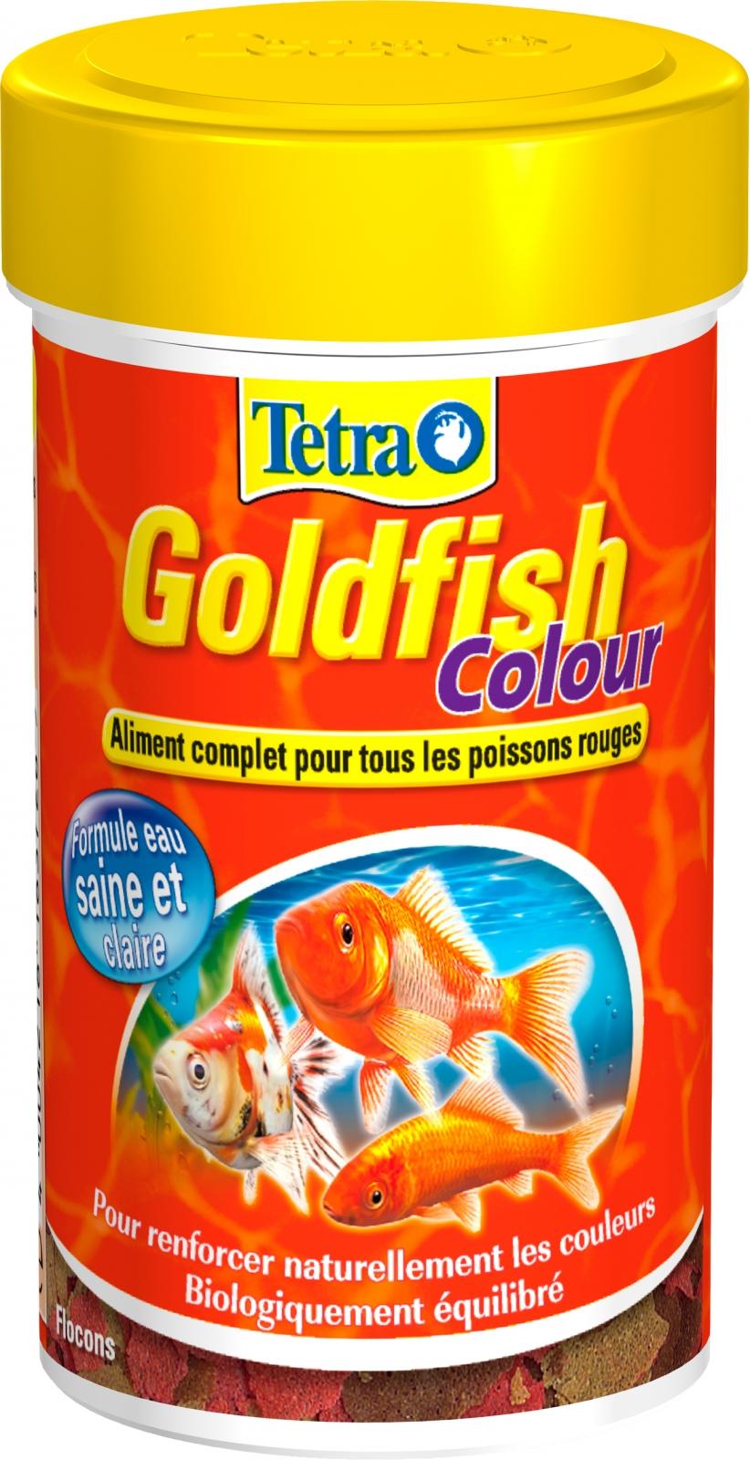 TETRA GoldFish Colour 100 ml aliment complet en flocons pour renforcer l\'éclat des couleurs des poissons rouges et autres poissons d\'eau froide