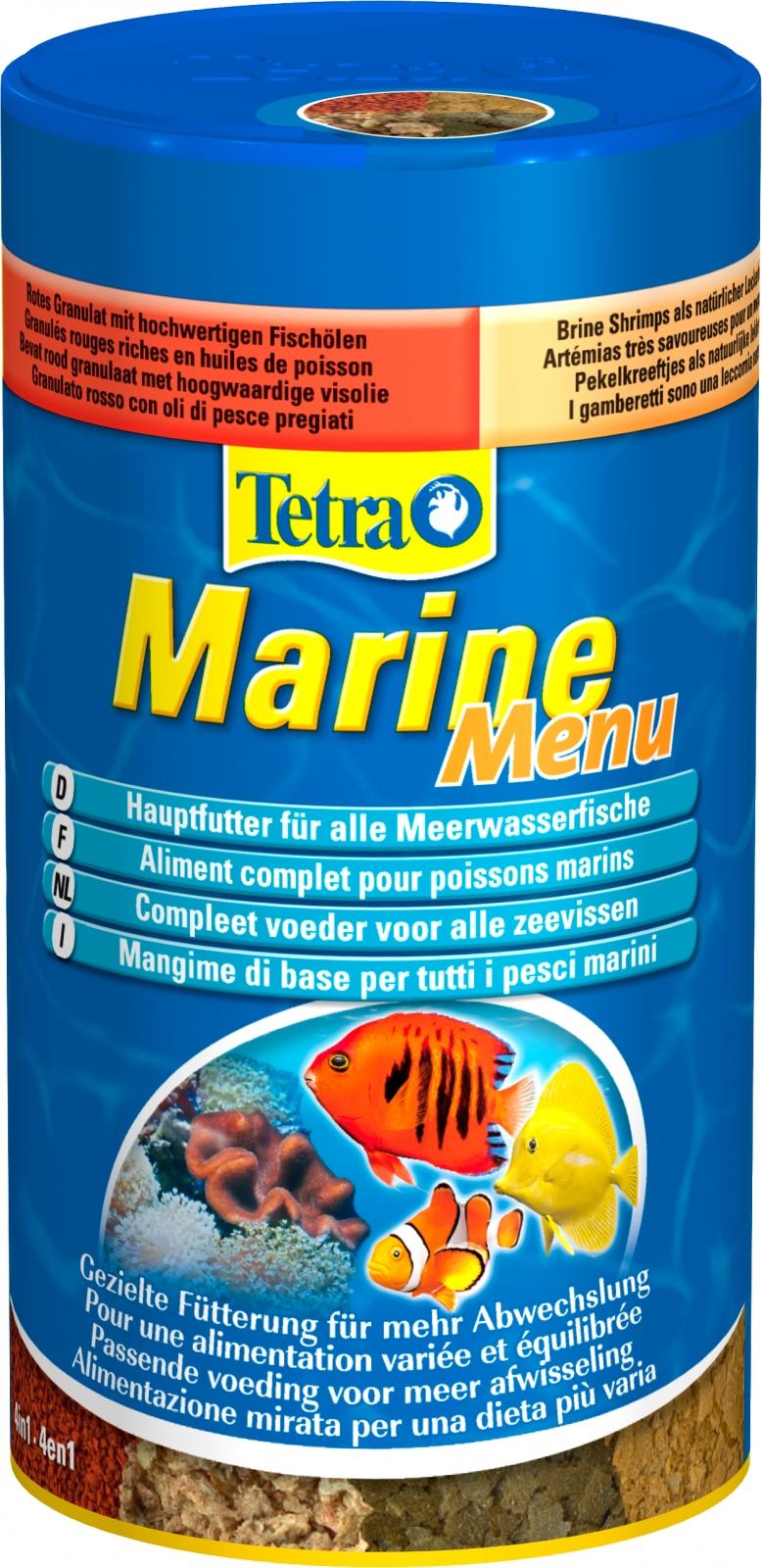 TETRA Marine Menu 250 ml 4 aliments variés dans 4 compartiments pour tous les poissons d\'eau de mer
