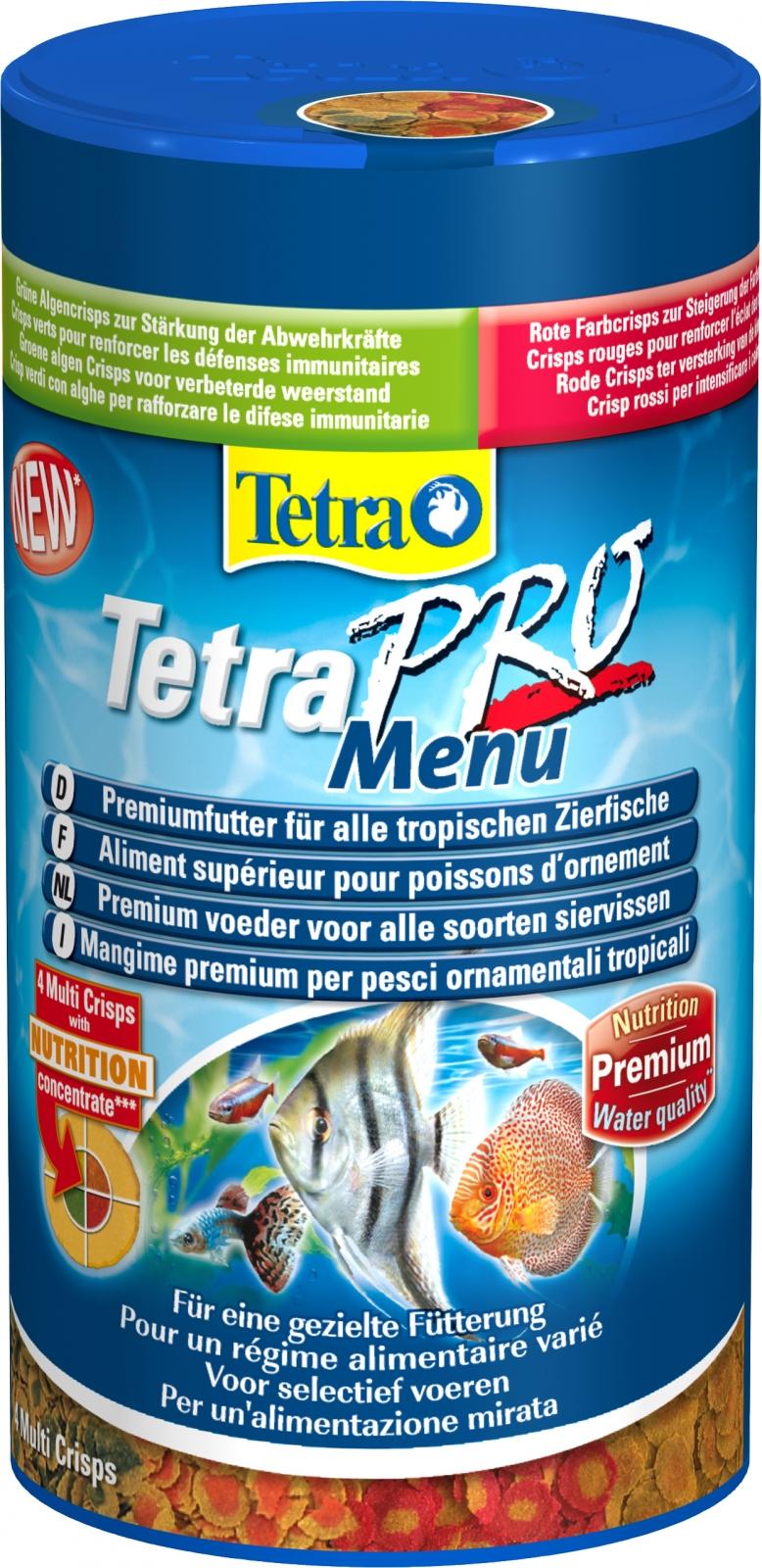 TETRA Pro Menu 250 ml 4 flocons supérieurs complémentaires dans 4 compartiments séparés pour poissons d\'ornement