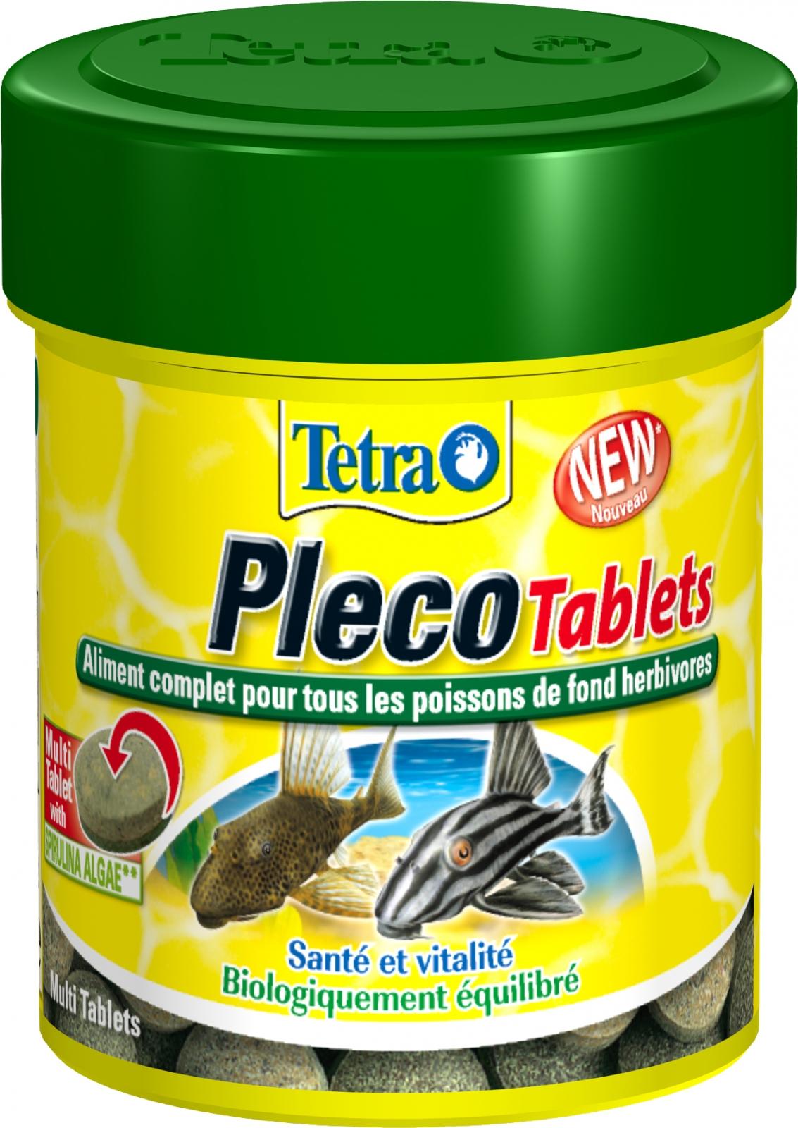 TETRA Pleco Tablets 120 tablettes complètes riches en végétaux pour tous les poissons de fond herbivores