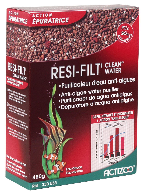 Resine anti-algues ACTIZOO ResiFilt\'CleanWater 1L absorbe les nitrates et réduits les algues en aquarium d\'eau douce et eau de mer