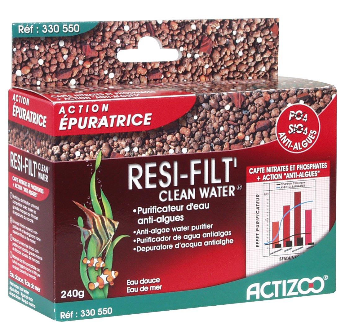 Resine anti-algues ACTIZOO ResiFilt\'CleanWater 0,5L absorbe les nitrates et réduits les algues en aquarium d\'eau douce et eau de mer