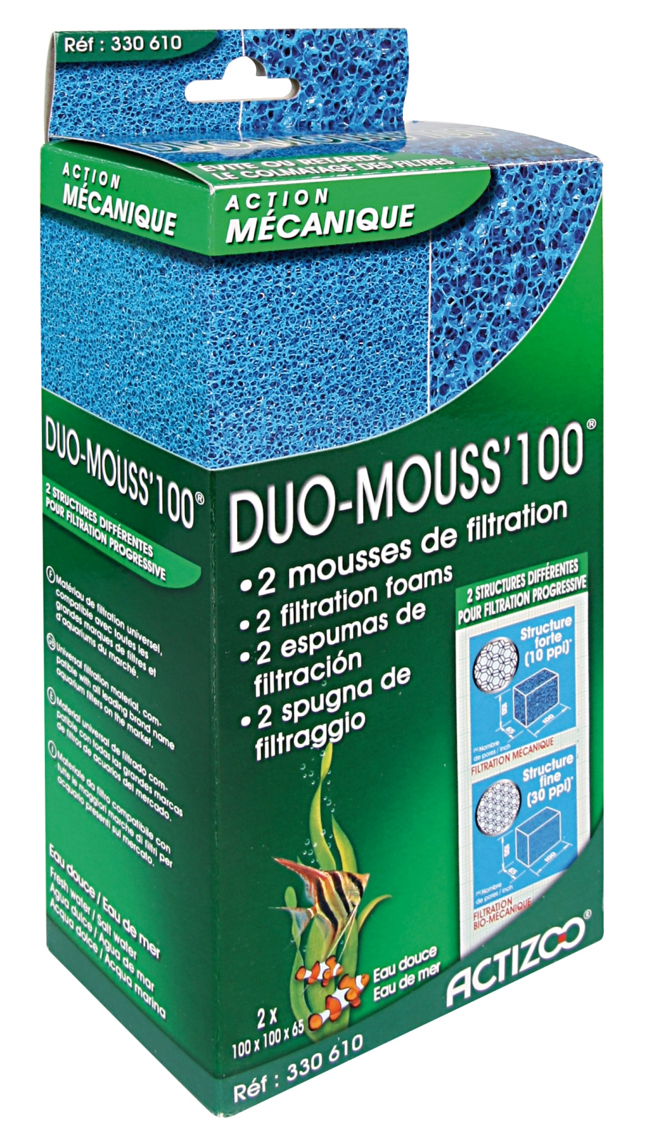 Mousses ACTIZOO Duo Mouss\'100 lot de 2 blocs de mousse 10 x 10 x 6,5 cm maille fine et maille large