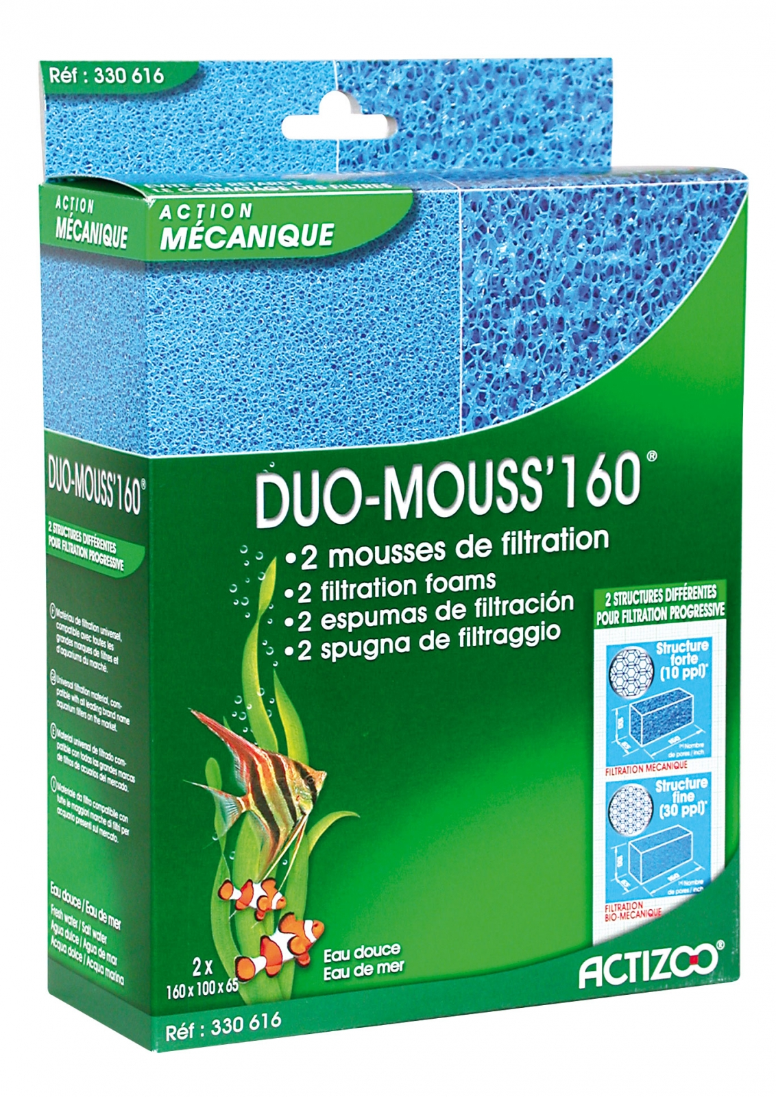 Mousses ACTIZOO Duo Mouss\'160 lot de 2 blocs de mousse 16 x 10 x 6,5 cm maille fine et maille large