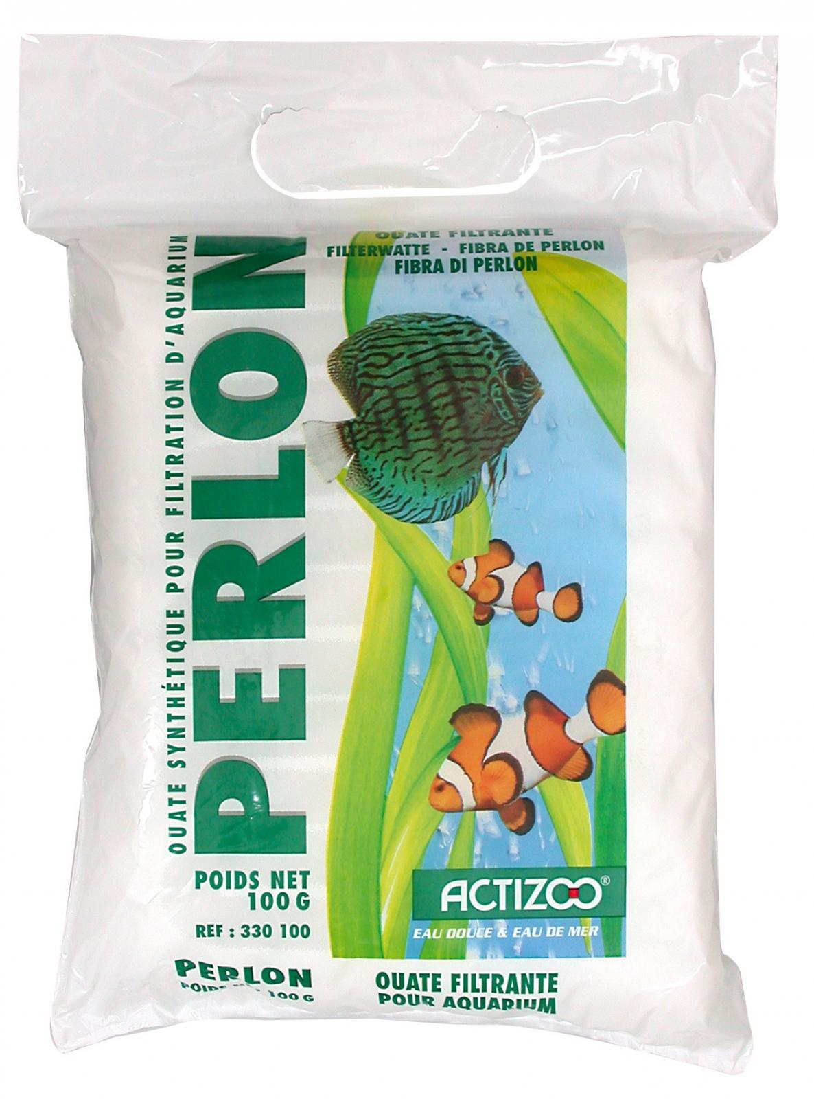Ouate de filtration ACTIZOO Perlon 100 gr. pour aquarium d\'eau douce et d\'eau de mer