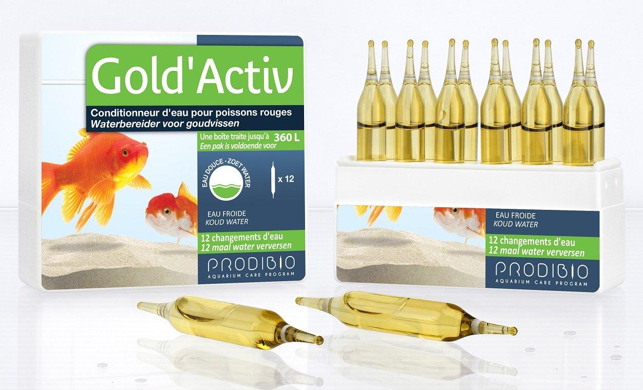 PRODIBIO Gold\'Activ 12 ampoules conditionneur d\'eau pour aquarium avec poissons rouges