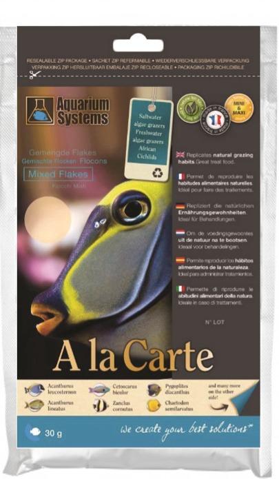 AQUARIUM SYSTEMS A la carte Mixed Flakes Maxi 30 gr. nourriture complète en flocons pour poissons marins et Cichlidés Africains de grande taille