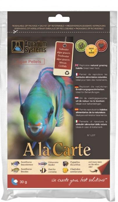 AQUARIUM SYSTEMS A la carte Algae Pellets Maxi 30 gr. nourriture en granulés à base de Spirulina pour poissons marins et Cichlidés Africains de grande taille