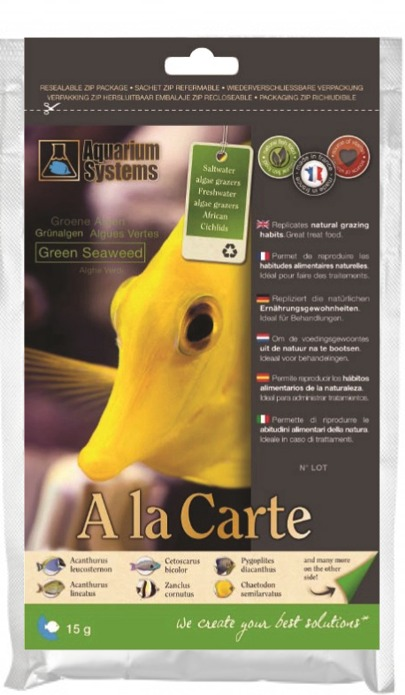 AQUARIUM SYSTEMS A la carte Green Seaweed 15 gr. algues vertes nourriture pour poissons marins et Cichlidés Africains