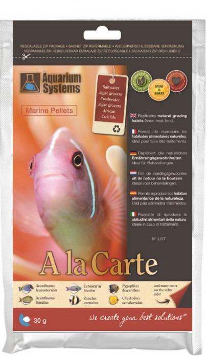 AQUARIUM SYSTEMS A la carte Marine Pellets Maxi 30 gr. nourriture en granulés complète pour poissons marins et Cichlidés Africains de grande taille