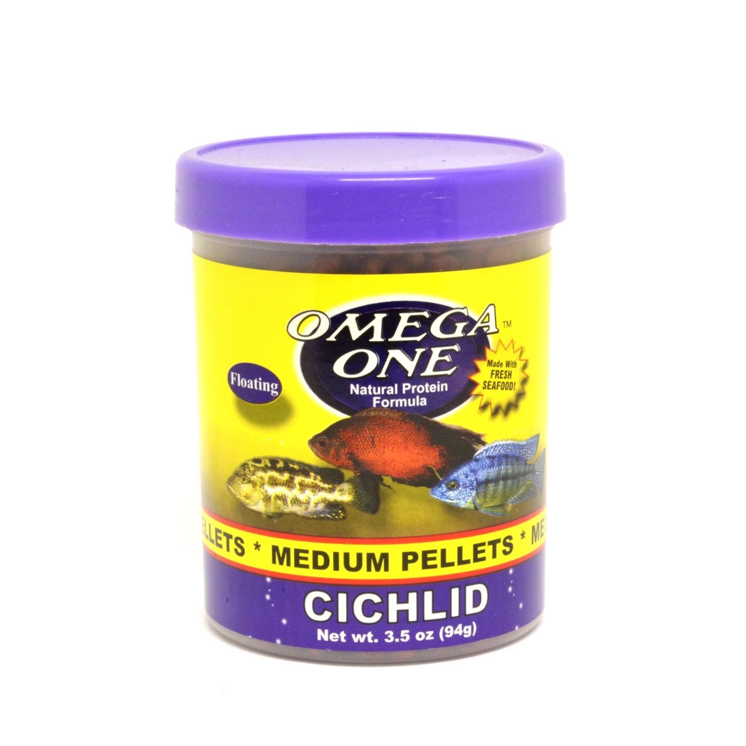 Nourriture en granulés pour gros Cichlidés OMEGA ONE Cichlid Medium Pellets 94 gr. riche en omega 3 et 6