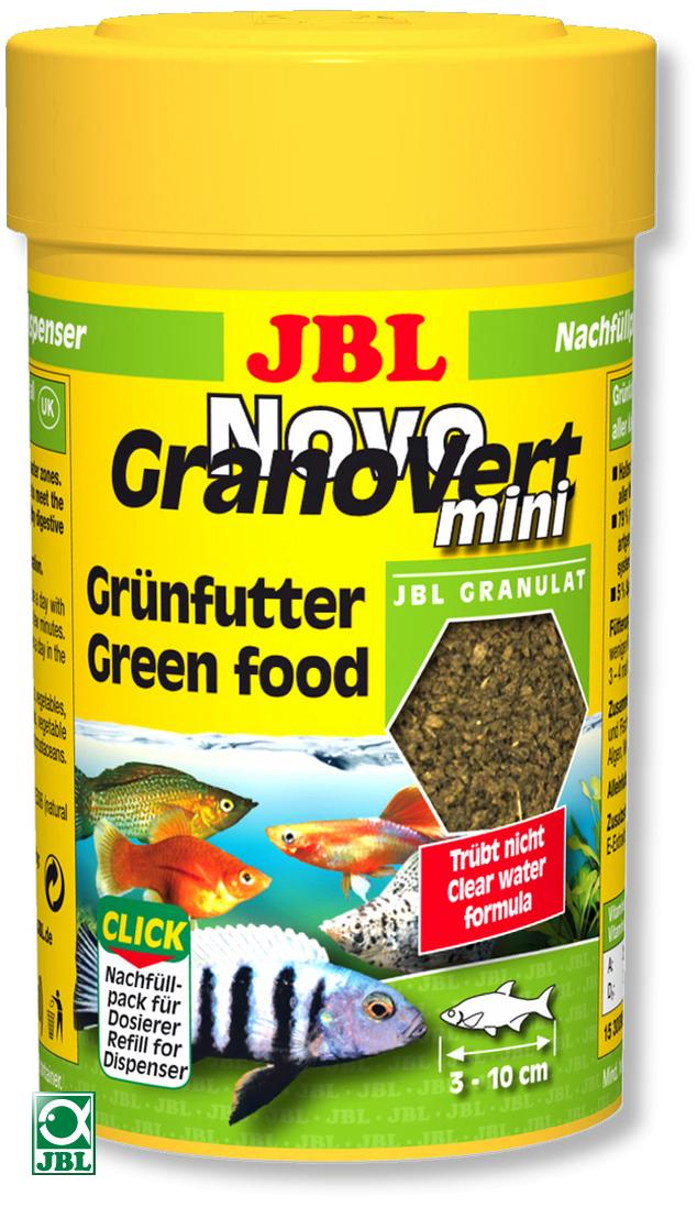 JBL NovoGranoVert mini 100 ml granulés pour petits poissons d\'aquarium herbivores avec doseur
