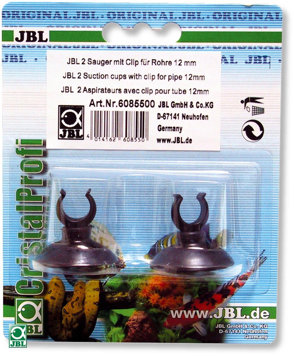 Lot de 2 ventouses JBL avec crochets 12 mm pour tuyau d\'aquarium 9/12 mm