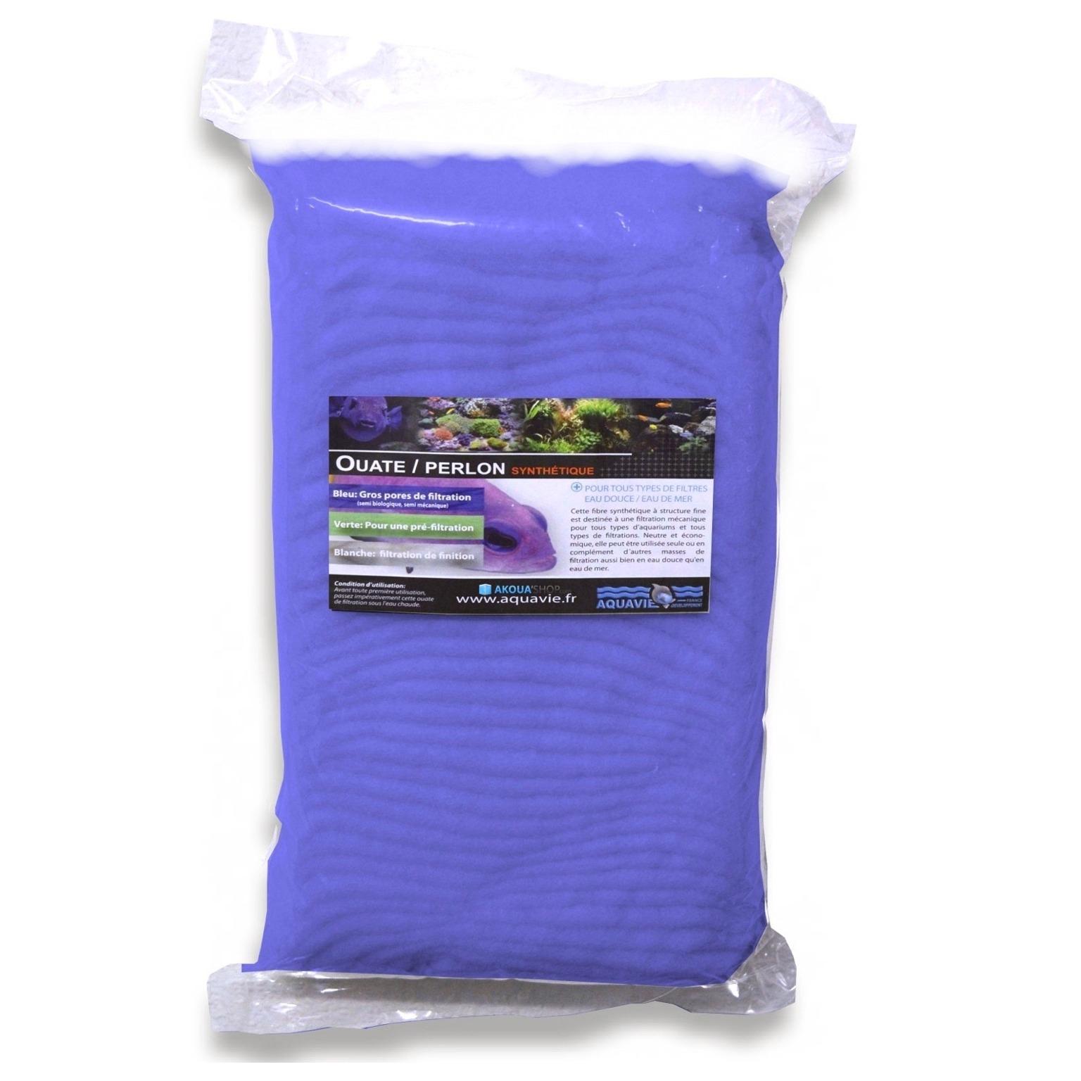 AQUAVIE Ouate bleue 100 gr à gros pores pour aquarium d\'eau douce et d\'eau de mer