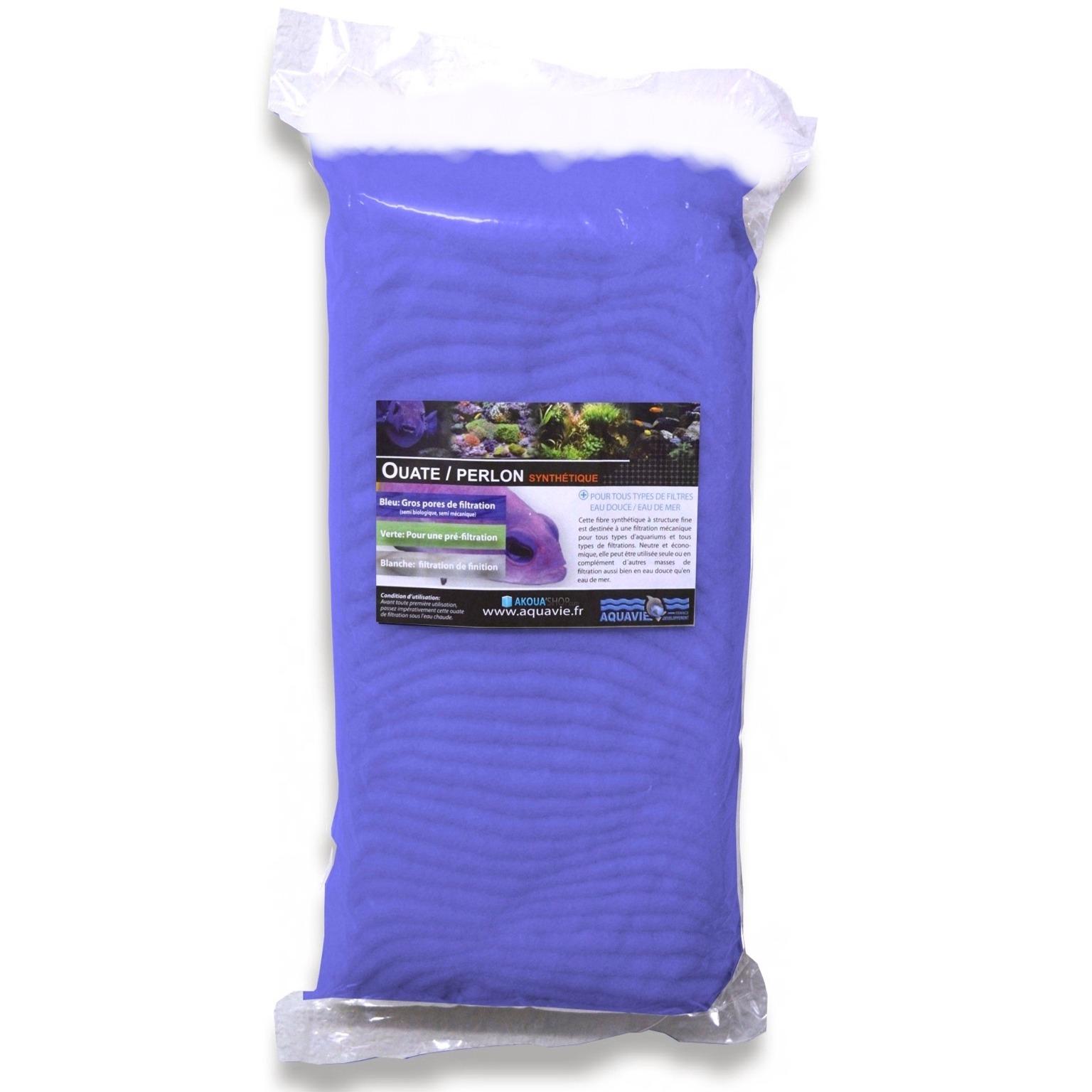 AQUAVIE Ouate bleue 500 gr à gros pores pour aquarium d\'eau douce et d\'eau de mer