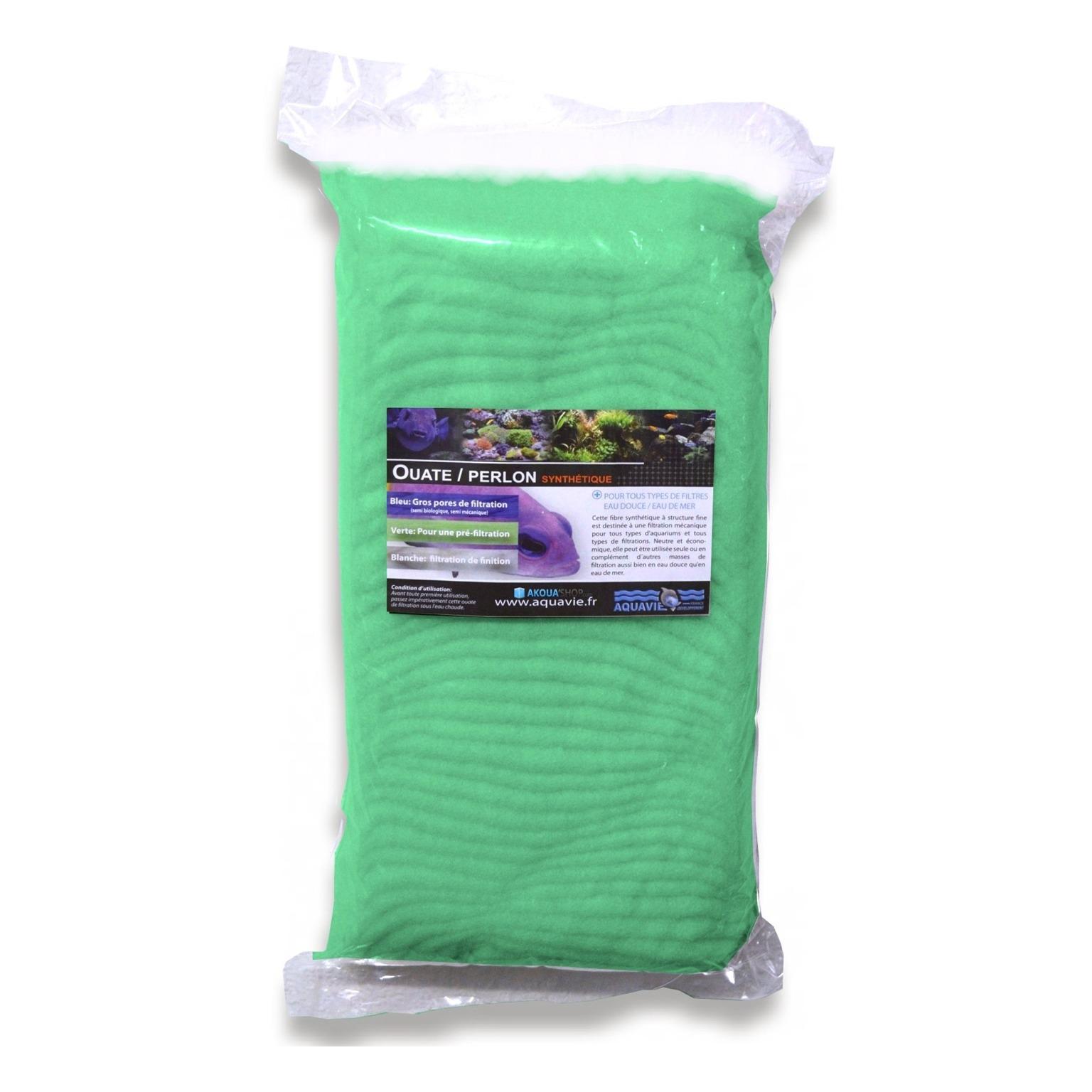 AQUAVIE Ouate verte 250 gr spéciale pré-filtration pour aquarium d\'eau douce et d\'eau de mer