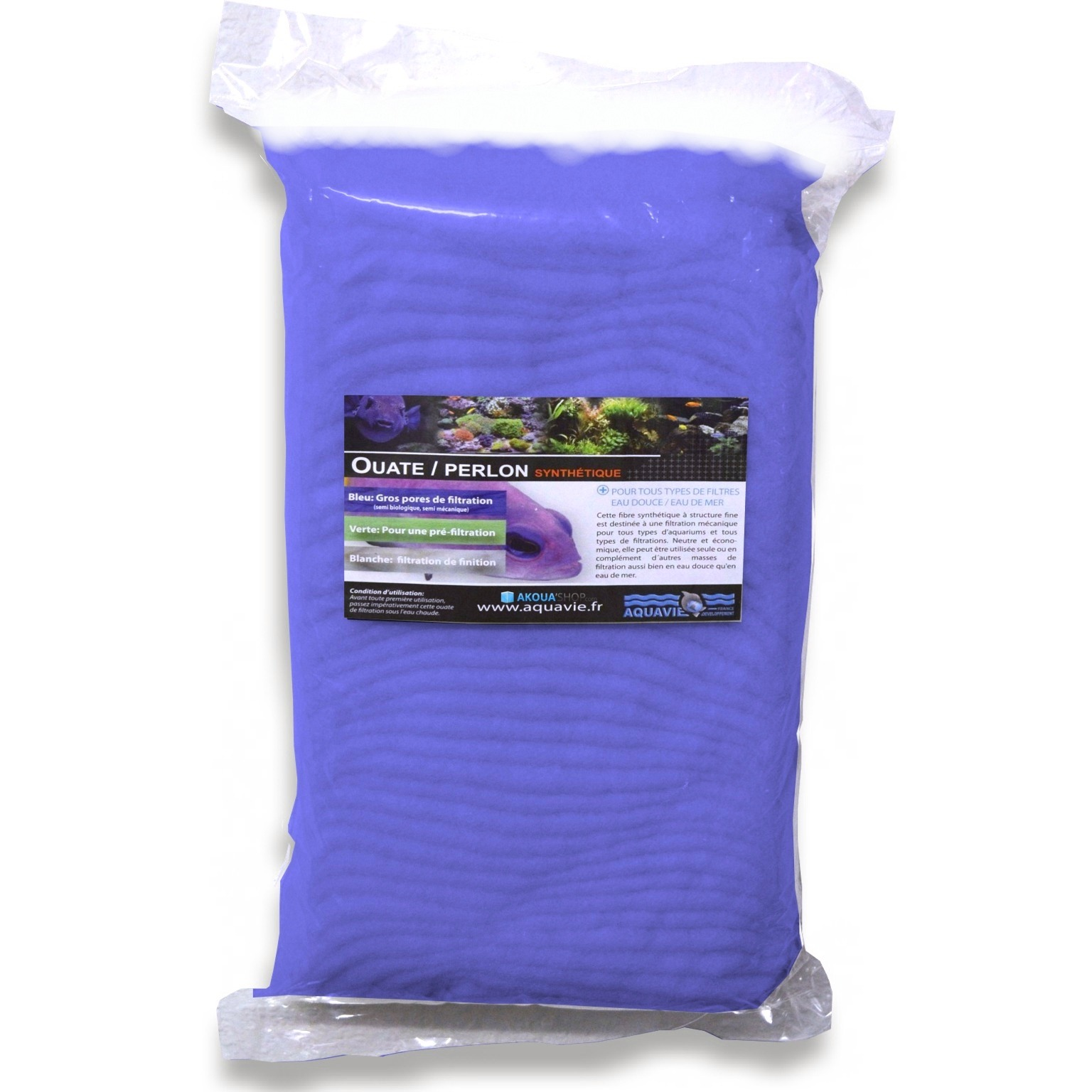 AQUAVIE Ouate bleue 1000 gr à gros pores pour aquarium d\'eau douce et d\'eau de mer