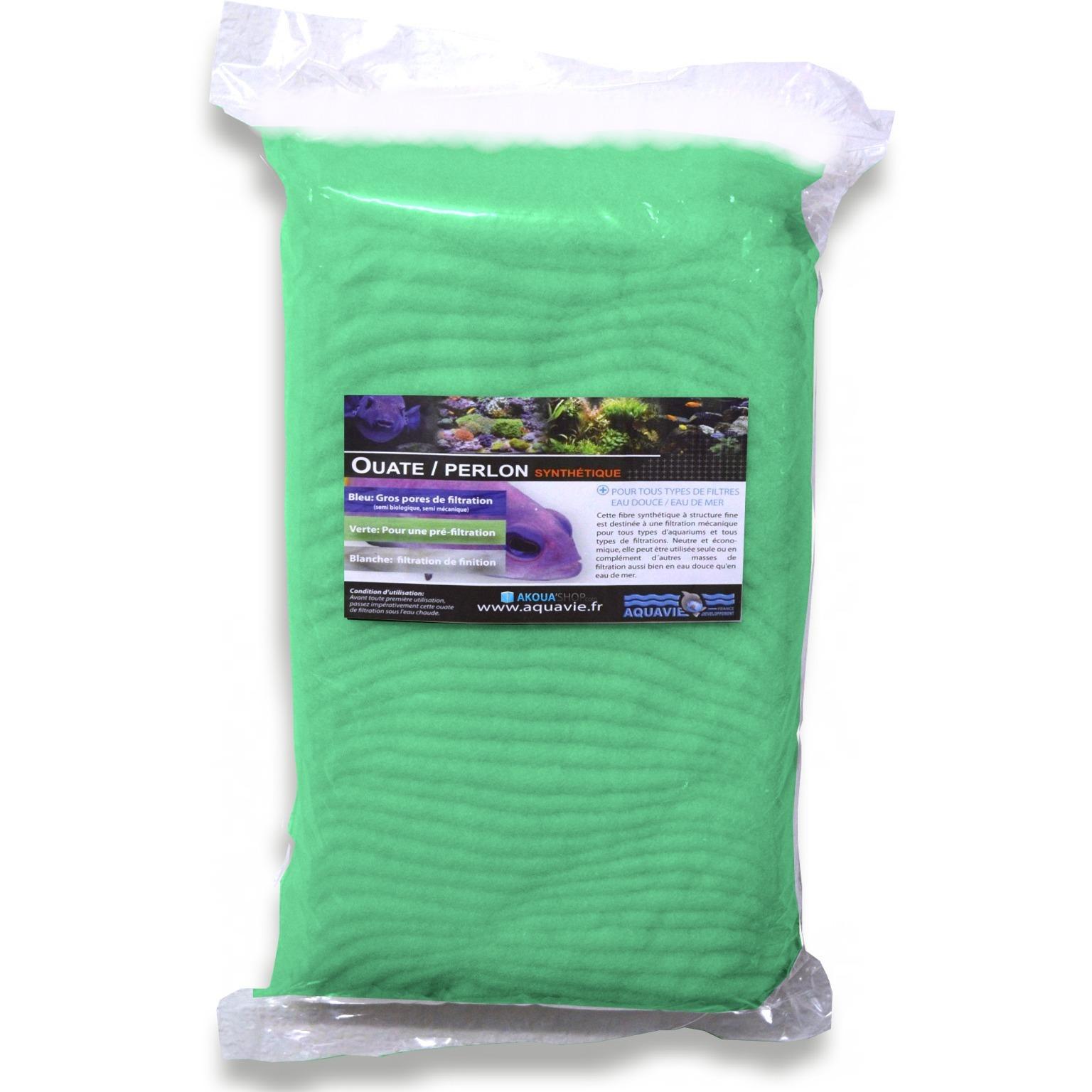 AQUAVIE Ouate verte 1000 gr spéciale pré-filtration pour aquarium d\'eau douce et d\'eau de mer