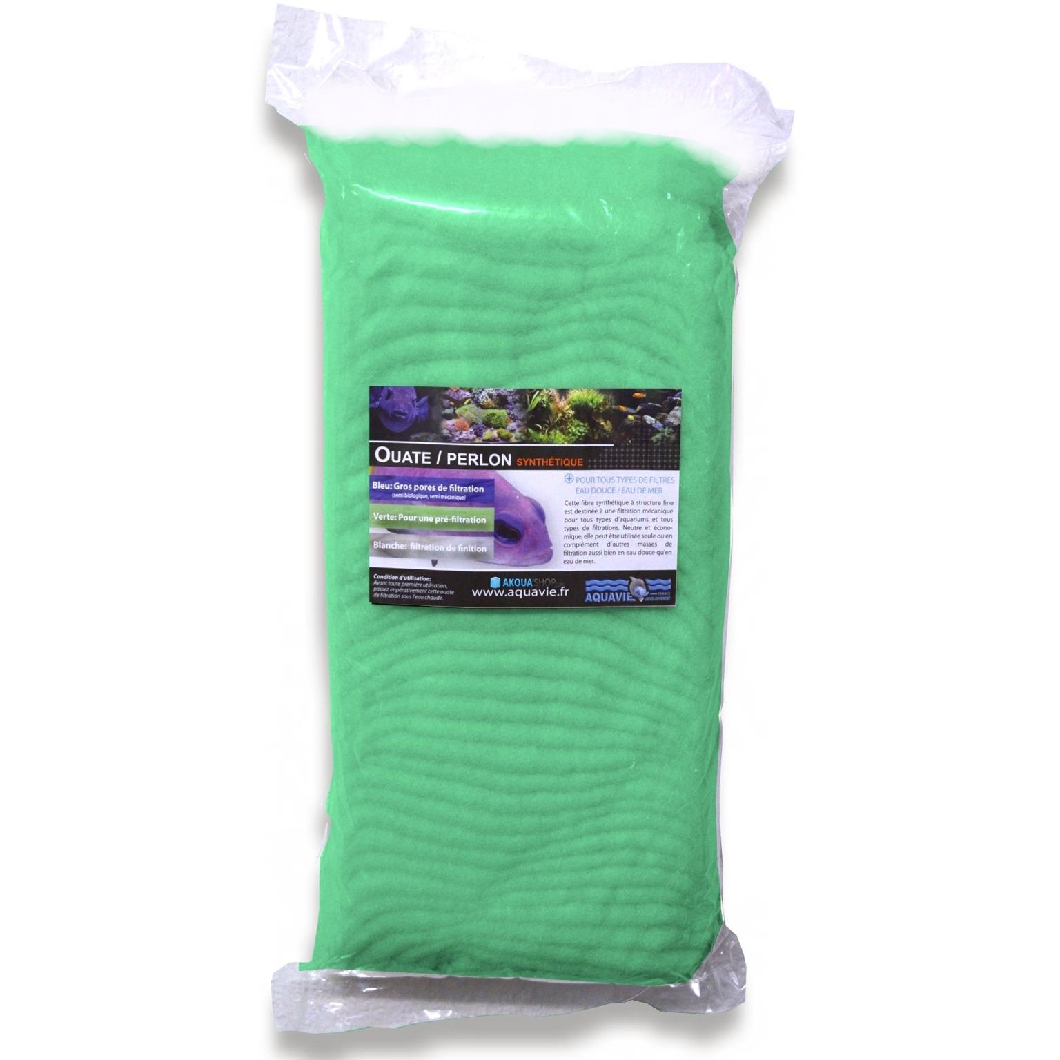AQUAVIE Ouate verte 500 gr spéciale pré-filtration pour aquarium d\'eau douce et d\'eau de mer