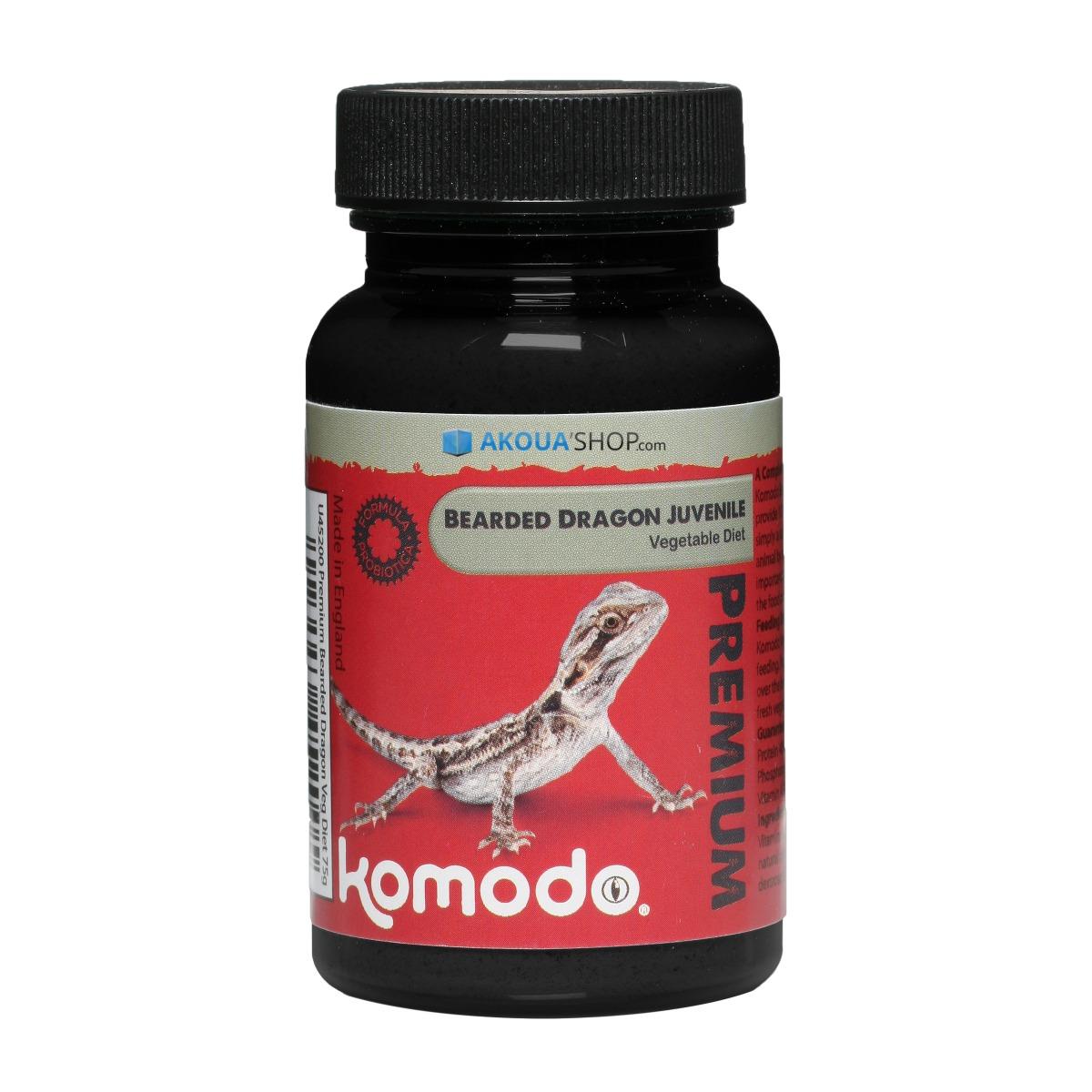 KOMODO Premium Bearded Dragon Juvenile Vegetable 75 gr. complément alimentaire pour Dragons barbus adulte à saupoudrer sur la nourriture