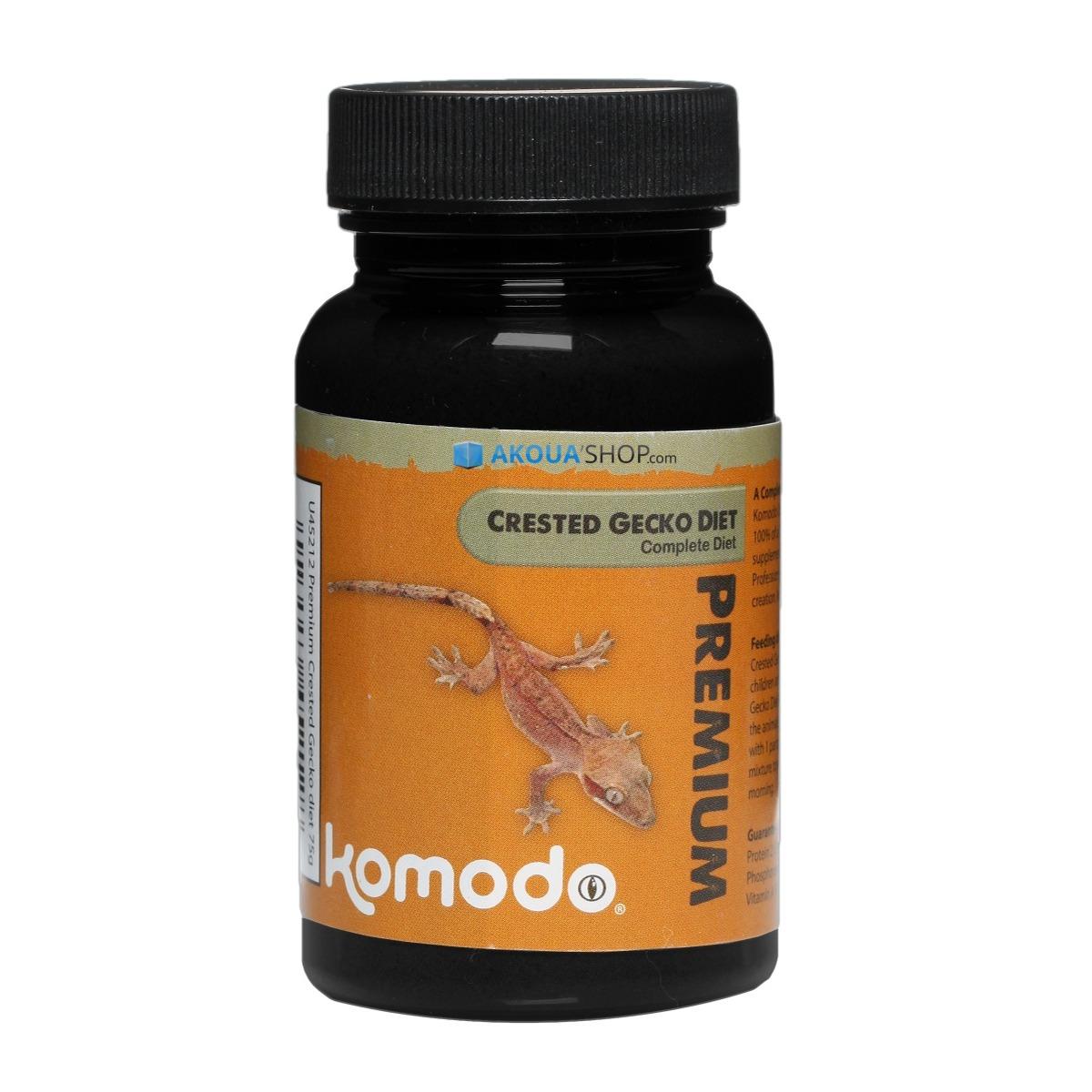 KOMODO Premium Crested Gecko 75 gr. complément alimentaire pour Gecko à crête à saupoudrer sur la nourriture