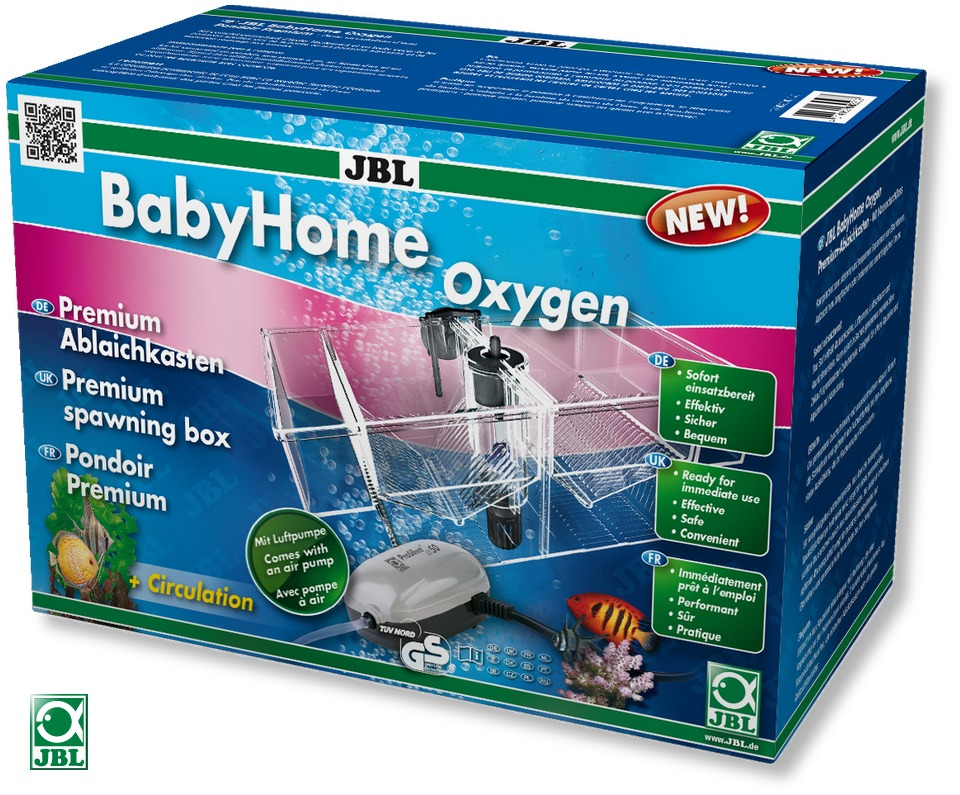 JBL BabyHome Oxygen pondoir de gamme premium pour poissons d\'aquarium avec pompe à air incluse