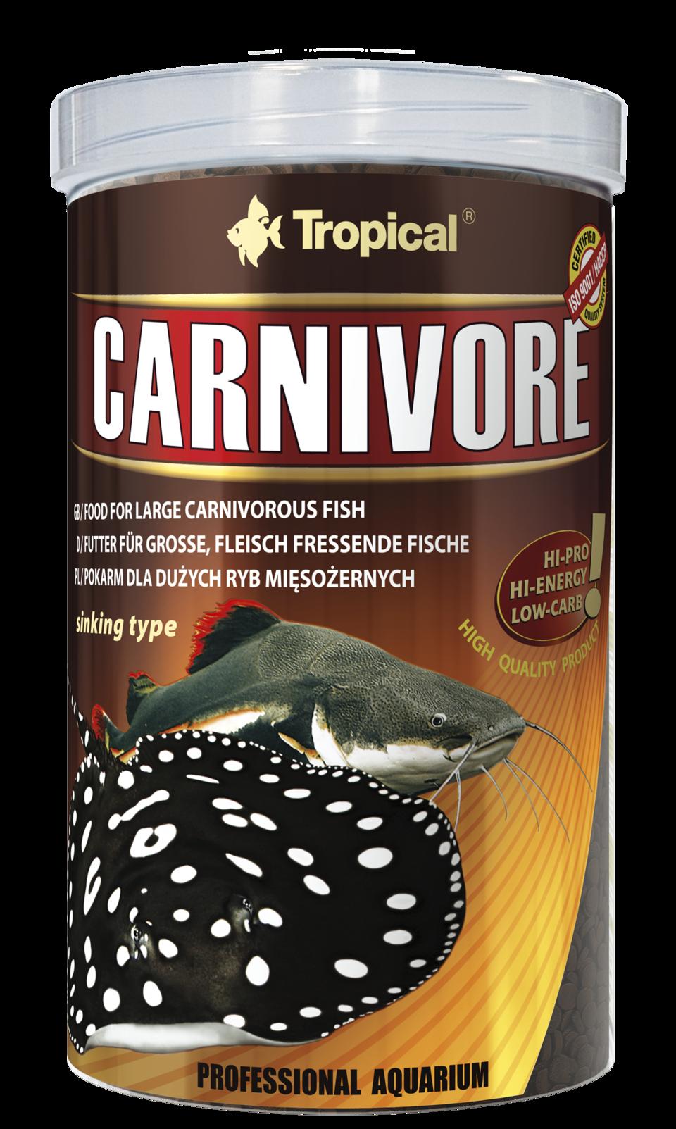 TROPICAL Carnivore 1L nourriture pour grands poissons carnivores