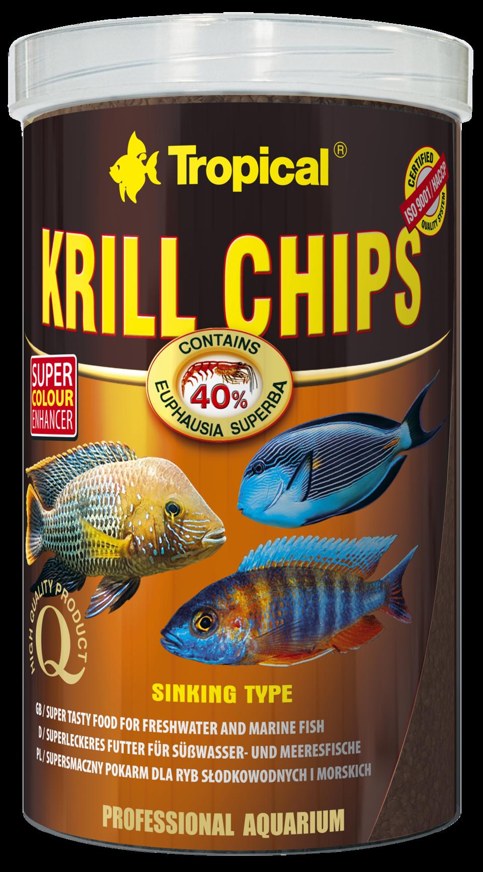 TROPICAL Krill Chips 1L nourriture sous forme de chips pour poissons d\'eau douce et d\'eau de mer, rehaussant la couleur, avec krill