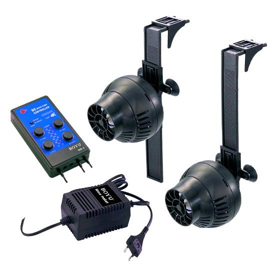 BOYU Wave Maker WM-4 Kit de 2 pompes de brassage 3000 L/h avec contrôleur pour aquarium de 80 à 500 L