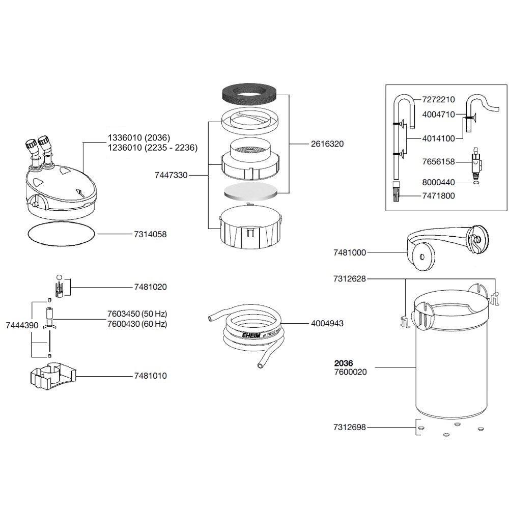 EHEIM Pièces détachées pour filtre externe Eheim Ecco Pro 300 (2036), Ecco 2235 et Ecco Comfort 2236