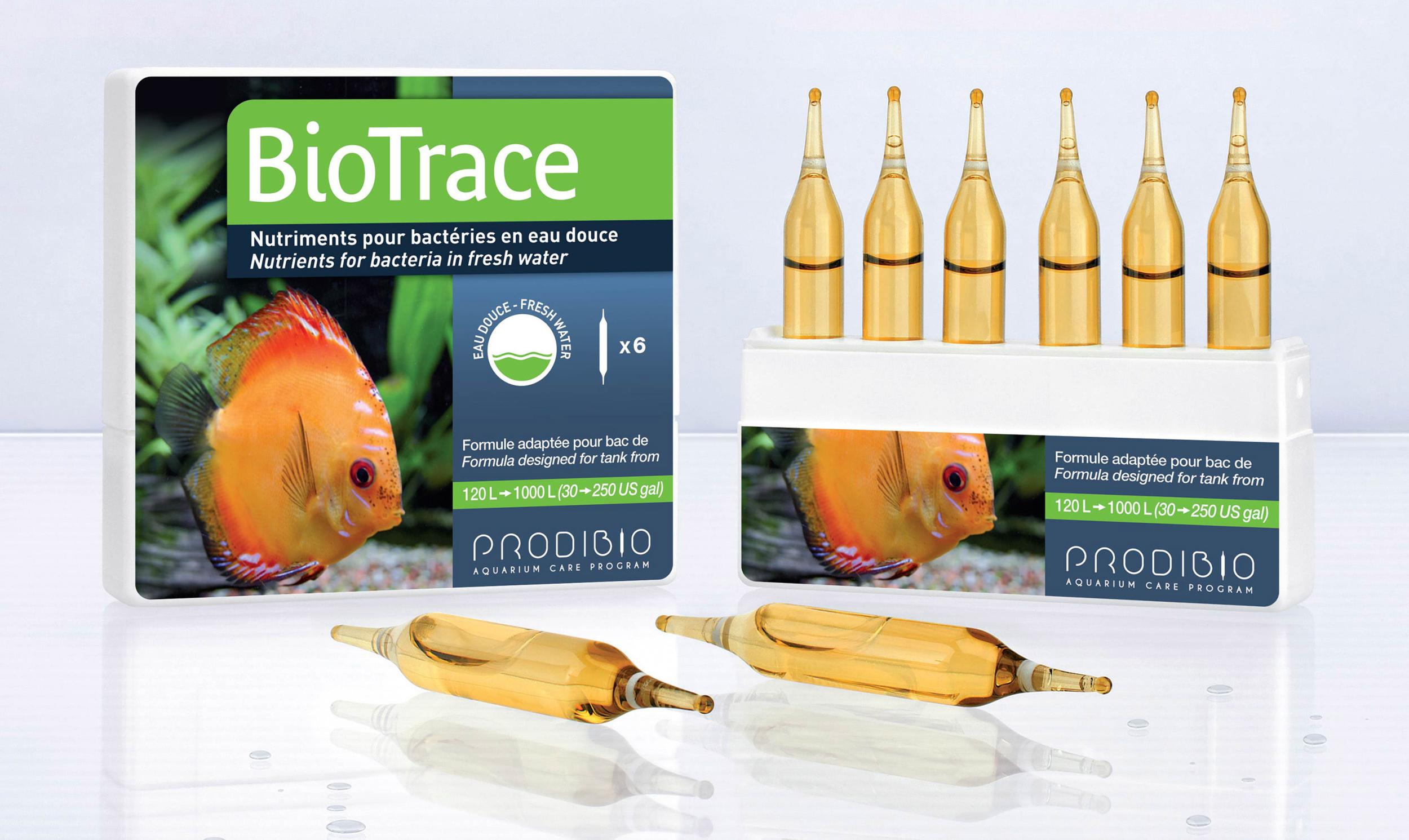 PRODIBIO BioTrace 6 ampoules apporte tous les micro-éléments nécessaires à la vie de l?aquarium d\'eau douce. Traite jusqu\'à 1200 L