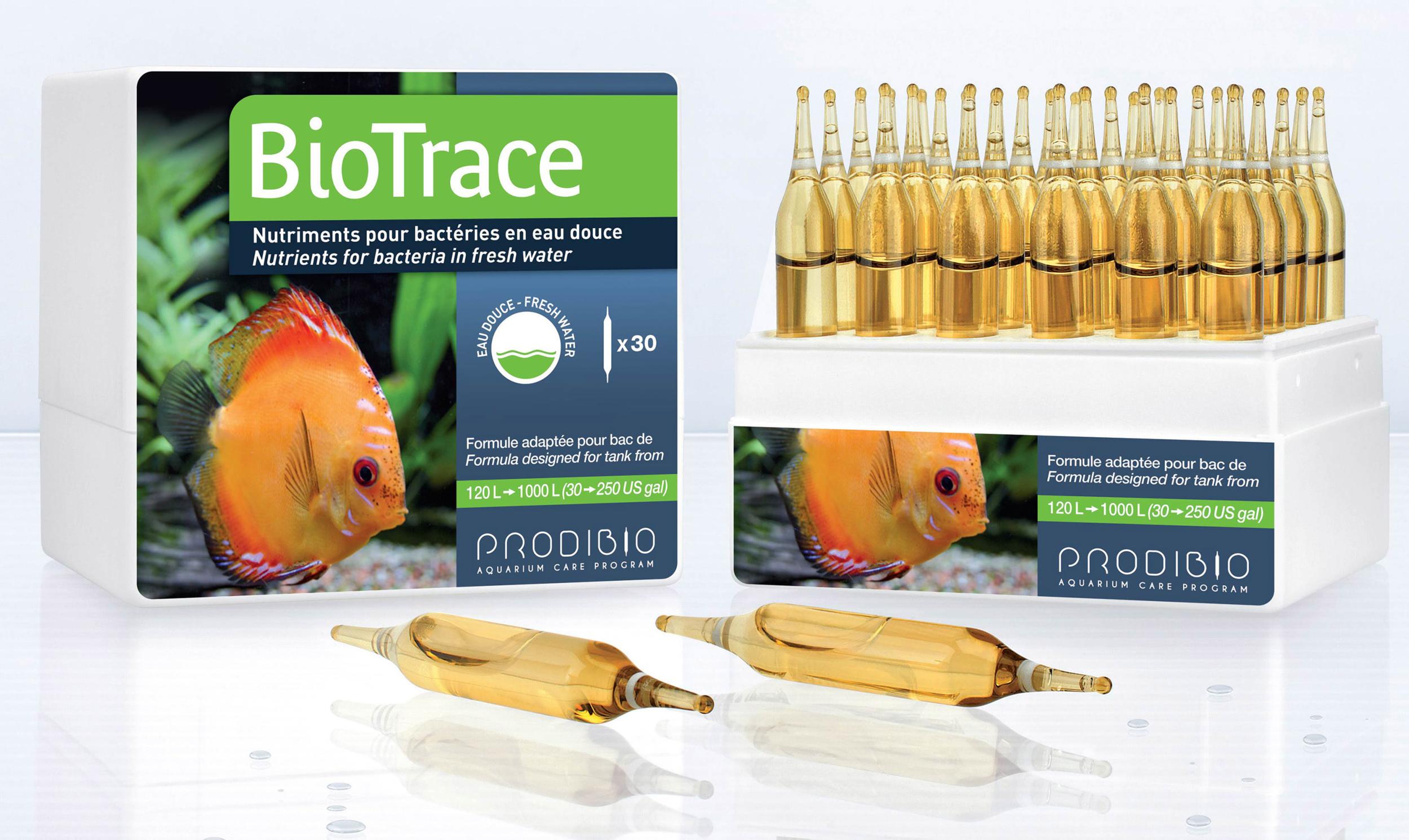 PRODIBIO BioTrace 30 ampoules apporte tous les micro-éléments nécessaires à la vie de l?aquarium d\'eau douce. Traite jusqu\'à 6000 L