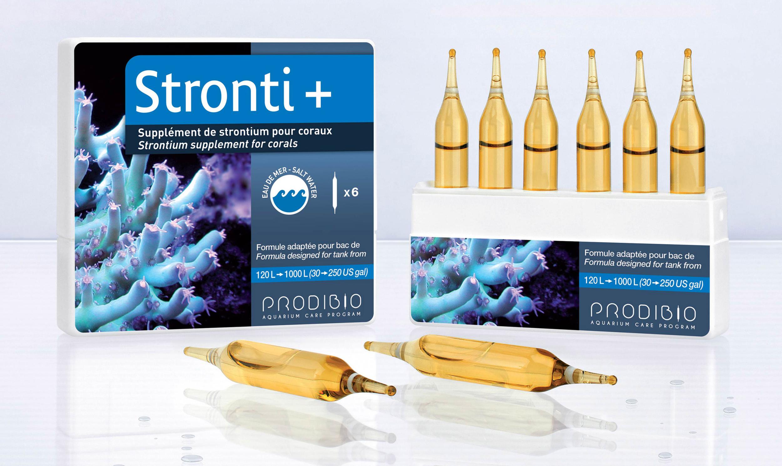 PRODIBIO Stronti + 6 ampoules supplément de strontium pour aquarium récifal. Traite jusqu\'à 1200 L