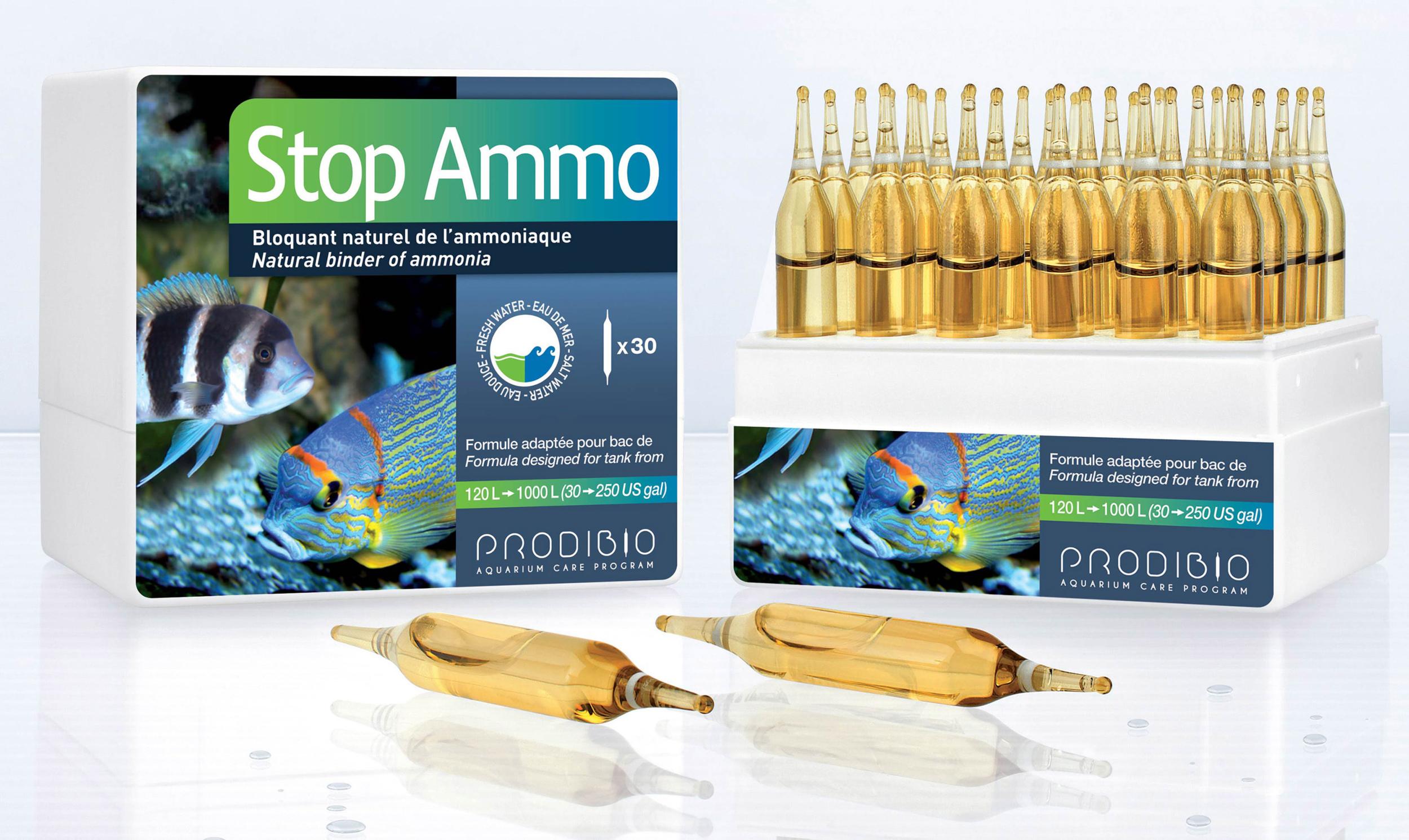 PRODIBIO Stop Ammo 30 ampoules élimine l\'ammoniaque dans l\'eau de mer. Traite jusqu\'à 6000 L