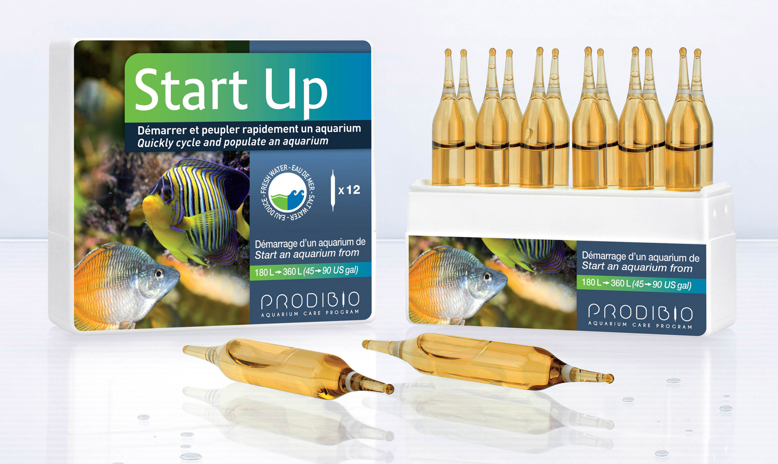 PRODIBIO Start Up 12 ampoules pour un démarrage plus rapide de votre aquarium. Pour bac de 180 à 360 L